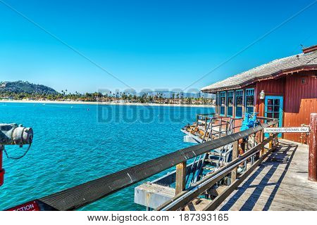 Wooden pier in Santa Barbara in California