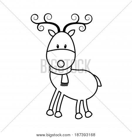christmas cute reindeer scarf standing animal cartoon outline vector illustration