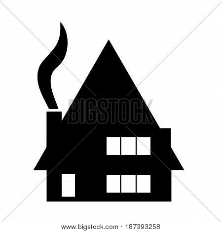 black house silhouette vector with chimney and smoke from fireplace
