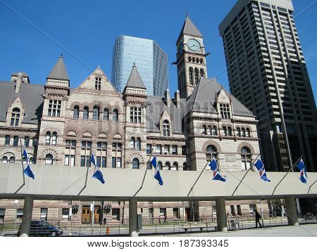 Flags in front of the Old City Hall in Toronto Ontario Canada