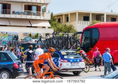 Alghero Italy - May 05 2017: cyclists on 100th Giro d'Italia opening day