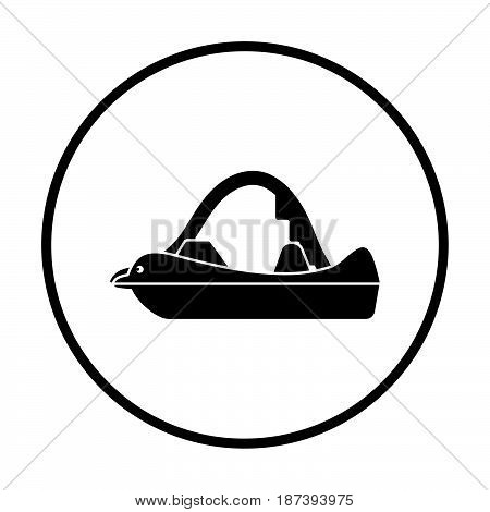 catamaran icon. Thin circle design. Vector illustration.