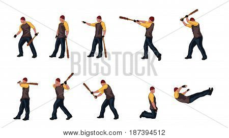 illustration of colored man with baseball bat set isolated on white background. man in different poses