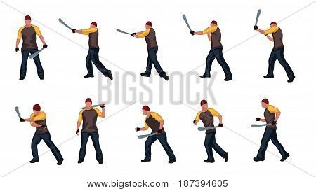 illustration of set man with machete in different poses isolated on white background