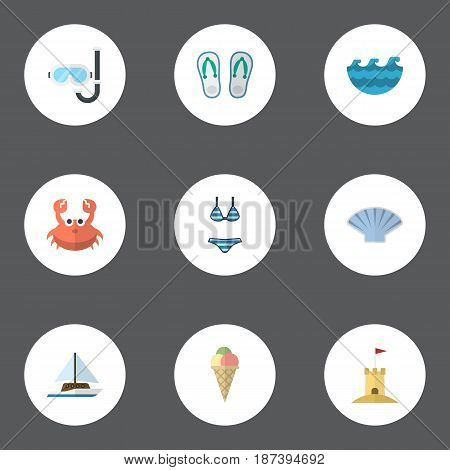 Flat Aqualung, Sailboard, Beachwear And Other Vector Elements. Set Of Beach Flat Symbols Also Includes Yacht, Sand, Sorbet Objects.