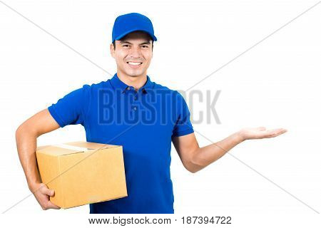 Smiling delivery man showing empty open palm (hand)