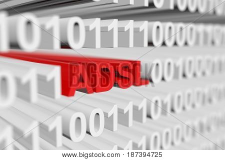 ADSL as a binary code with blurred background 3D illustration