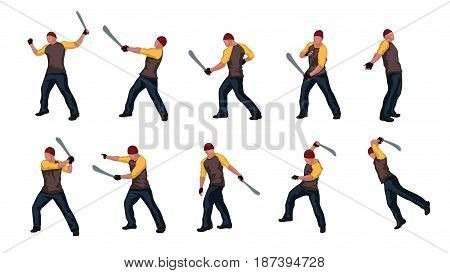 illustration of set colored man with machete in different poses isolated on white background