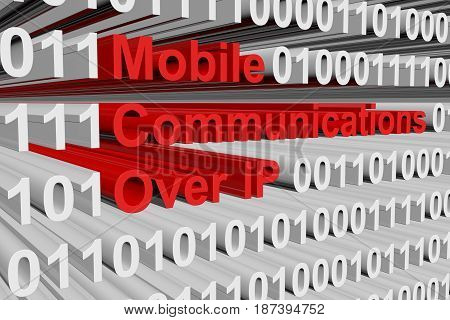 Mobile communications over IP in a binary code 3D illustration