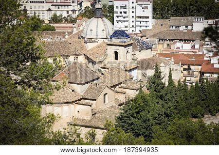 a view over Xativa town and the Sant Josep hermitage, province of Valencia, Spain