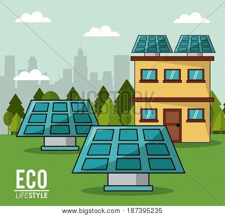eco lifestyle solar panel house smart clean energy innovation cityspace vector illustration