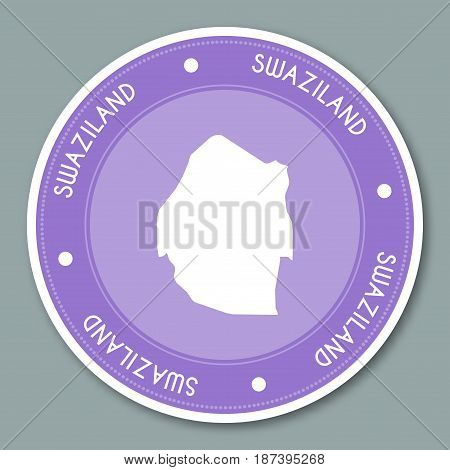 Swaziland Label Flat Sticker Design. Patriotic Country Map Round Lable. Country Sticker Vector Illus