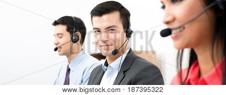 Call center (telemarketing or customer service) team - panoramic banner