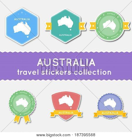 Australia Travel Stickers Collection. Big Set Of Stickers With Country Map And Name. Flat Material S