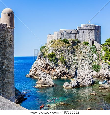 Cove, City Wall Tower And Fort Lovrijenac In Dubrovnik, Croatia