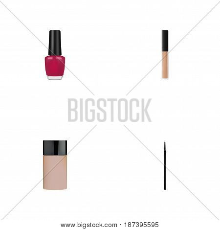 Realistic Cosmetic Stick, Varnish, Concealer And Other Vector Elements. Set Of Greasepaint Realistic Symbols Also Includes Nail, Stick, Skincare Objects.