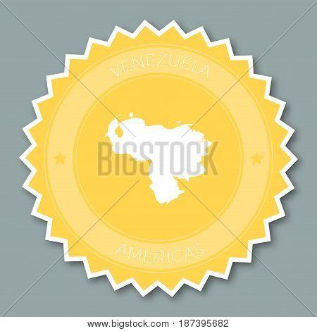 Bolivarian Republic Of Venezuela Badge Flat Design. Round Flat Style Sticker Of Trendy Colors With C