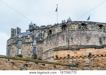 British And Scottish Flags Over Edinburgh Castle, Scotland