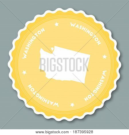 Washington Sticker Flat Design. Round Flat Style Badges Of Trendy Colors With The State Map And Name