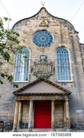 EDINBURGH SCOTLAND - SEPTEMBER 13 2014: Canongate Kirk located in the lower section of the Royal Mile. This Presbyterian church was built in the 17th century.