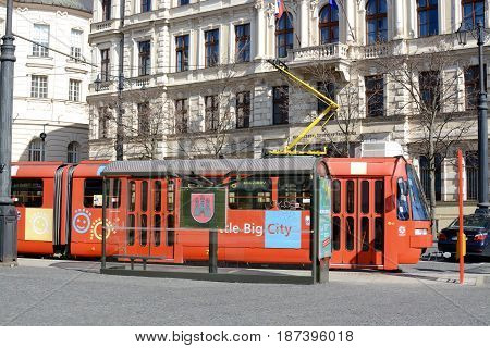 BRATISLAVA, SLOVAKIA - MARCH 8, 2017: Red tram public transport in the city of Bratislava, Slovakia