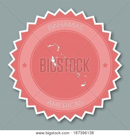 Bahamas Badge Flat Design. Round Flat Style Sticker Of Trendy Colors With Country Map And Name. Coun