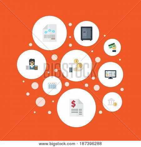 Flat Duty, Card, Bank And Other Vector Elements. Set Of Accounting Flat Symbols Also Includes Booker, Payment, Bank Objects.