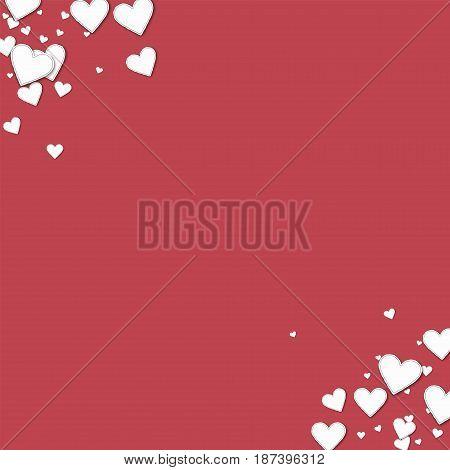 Beautiful Paper Hearts. Frame Corners On Crimson Background. Vector Illustration.