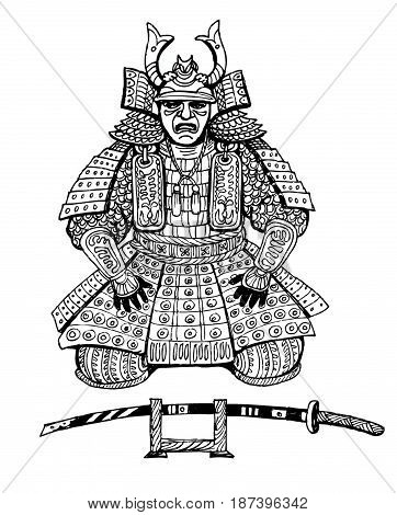 graphics drawing Japan samurai anti-stress art therapy zentagl