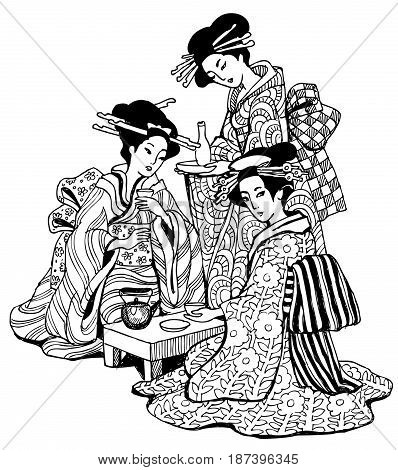 graphics drawing Japan geisha tea ceremony anti-stress art therapy  zentagl