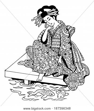graphics drawing Japan geisha anti-stress art therapy zentagl