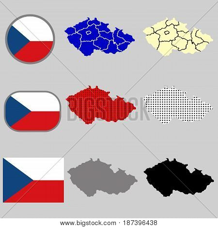 Czech Republic map vector with the czech flag - black silhouette - polka dots - vector set
