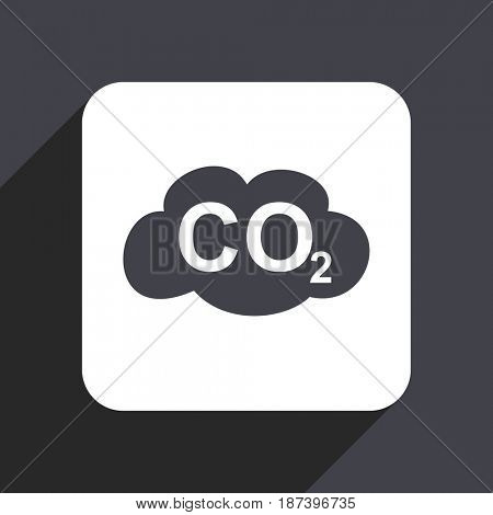 Carbon dioxide flat design web icon isolated on gray background