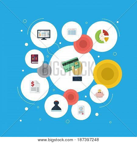 Flat Sheet, Book, Accounting System And Other Vector Elements. Set Of Accounting Flat Symbols Also Includes Moneybox, Chart, Card Objects.