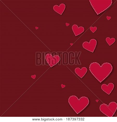 Red Stitched Paper Hearts. Right Gradient On Wine Red Background. Vector Illustration.