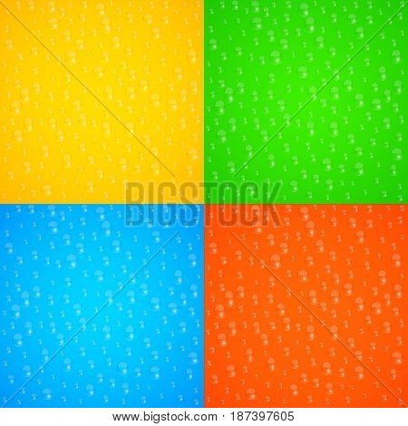 Realistic dripping drops of water. Multicolored glass. Colorful background for your projects. Pure freshness. Fresh juice. Vector illustration. EPS 10