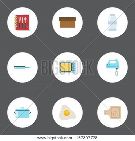 Flat Skillet, Cooking Notebook, Loaf And Other Vector Elements. Set Of Kitchen Flat Symbols Also Includes Casserole, Kitchen, Recipe Objects.