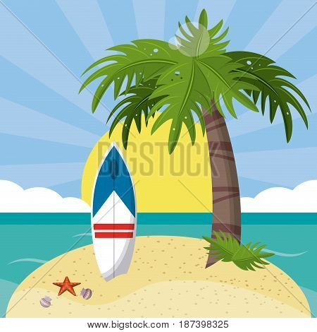 summer beach in the seashore with surfboard and palm tree. vector Illustration