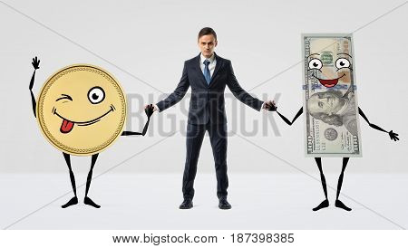 A businessman holding hands with large anthropomorphic golden coin and dollar bill. Best friends with money. Income and profit. Wise transactions.