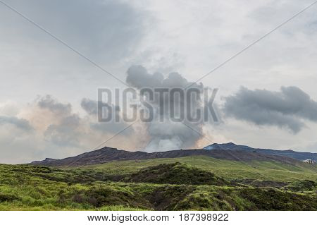 Mount Aso Caldera, The Active Volcano, In Middle Of Kumamoto, Japan