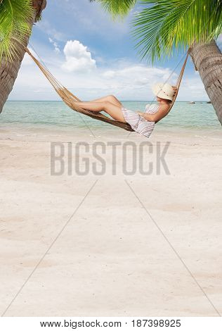 view of nice young lady chilling  in hummock on tropical beach. banner.