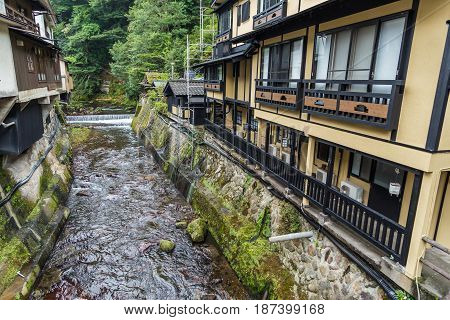 River in Kurokawa onsen town in Aso Kyushu.