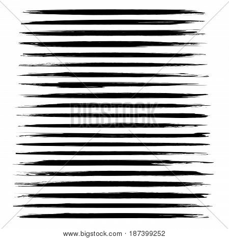 Abstract Black Thin Long Smears Vector Objects Isolated On A White Background