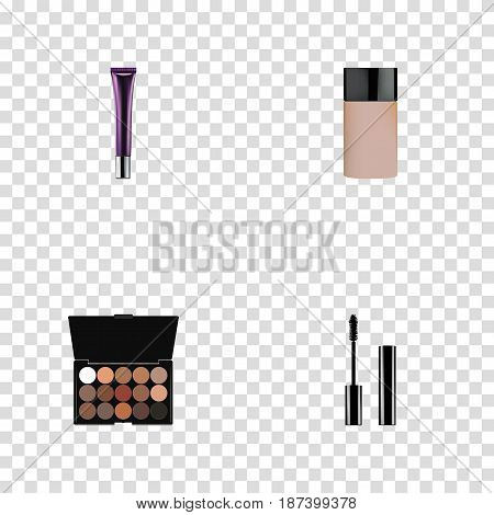 Realistic Day Creme, Concealer, Multicolored Palette And Other Vector Elements. Set Of Cosmetics Realistic Symbols Also Includes Creme, Palette, Eyelashes Objects.