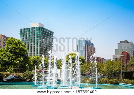 Fountain With National Library In Santiago, Chile
