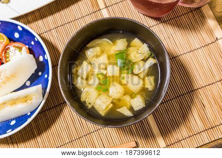 Homemade Miso Soup On The Dining Table.