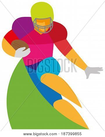 A young athlete is an American football player who runs to attack with a ball