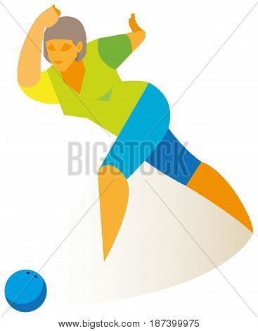 A young pretty woman who plays bowling performs an accurate ball throw