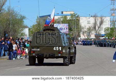 Russian army parade.V-day celebration.Sary Shagan.Former Soviet  anti-ballistic missile testing range.Kazakhstan.May 9, 2017.Priozersk.Kazakhstan