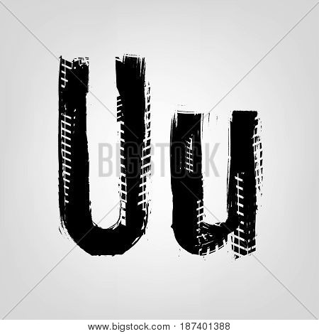 Grunge tire letter U. Unique off road isolated lettering in a black colour. Vector illustration.
